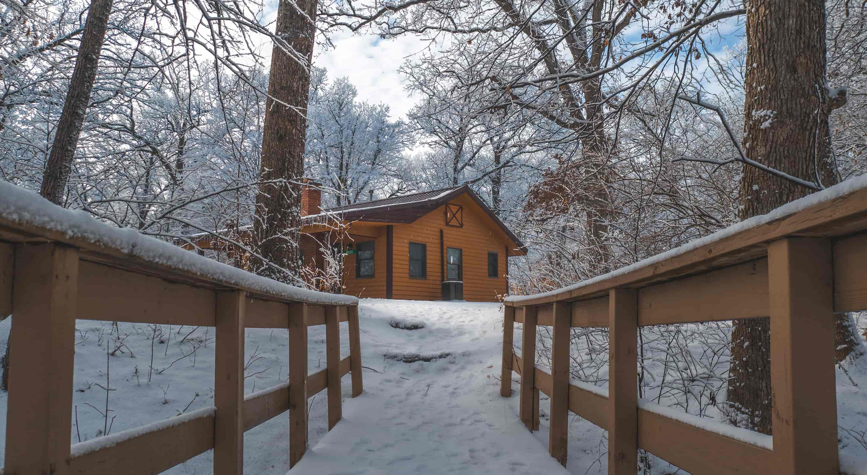 Bridge Cabin in Winter with fresh snow