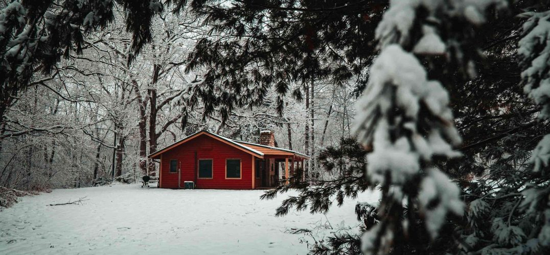 Cabin in Winter with fresh snow