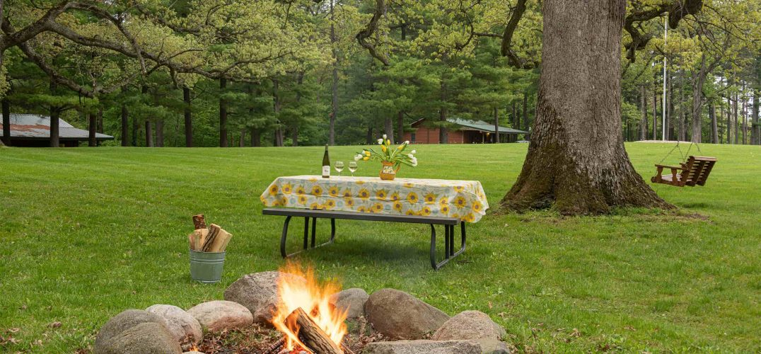 Picnic table set with flowers and firepit and tree with swing in distance
