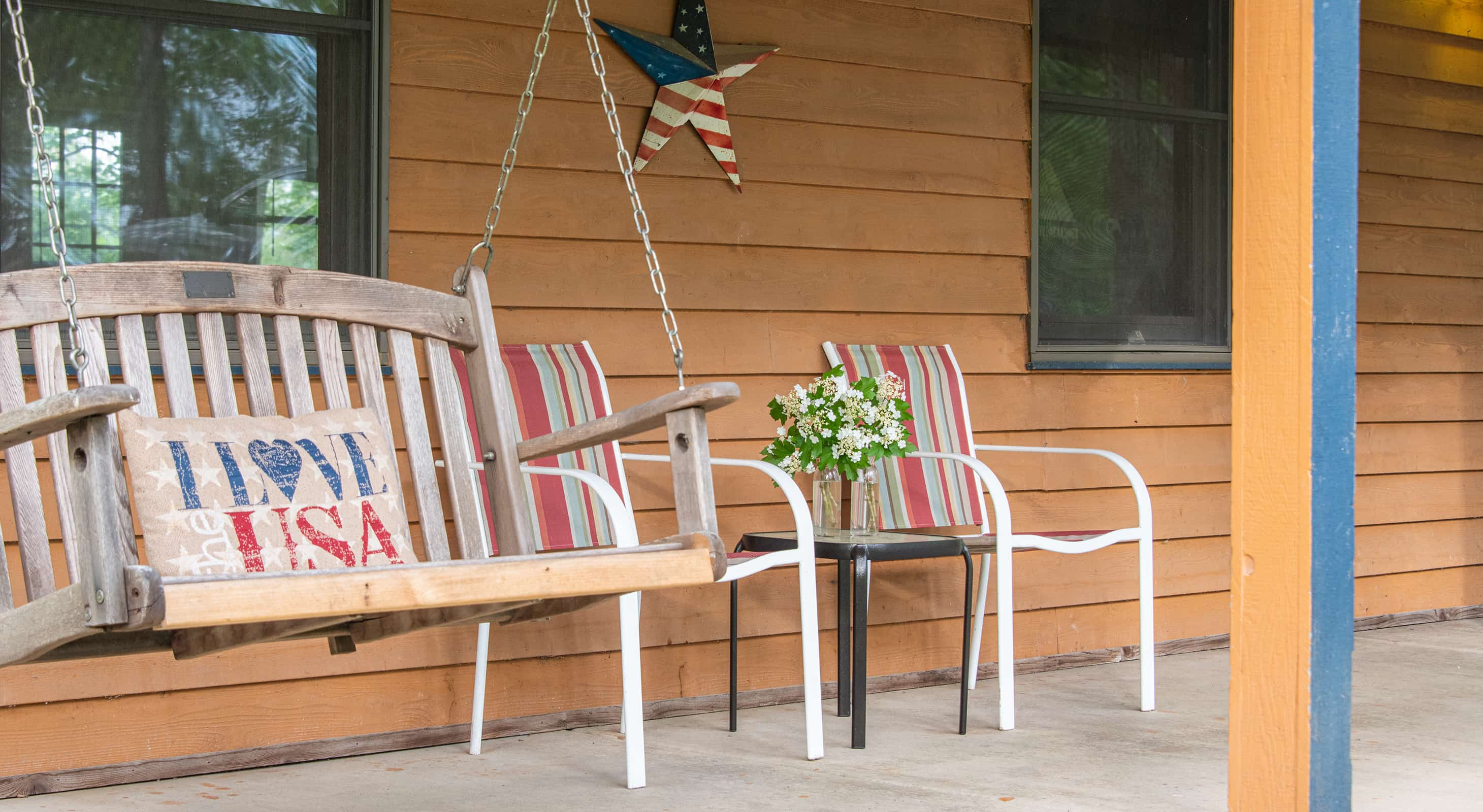 Front porch swing at our cabins near Starved Rock State Park