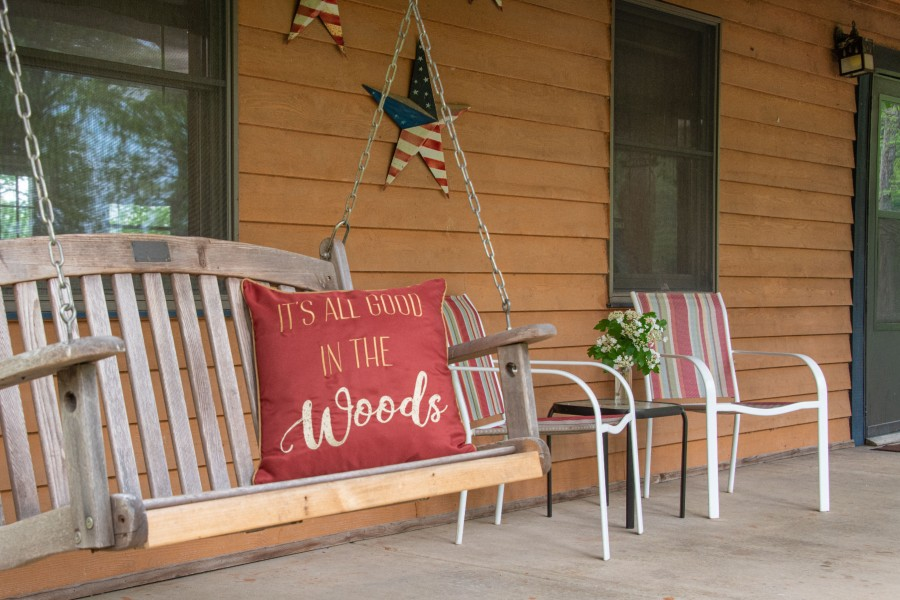 Porch swing at our cabin near Starved Rock