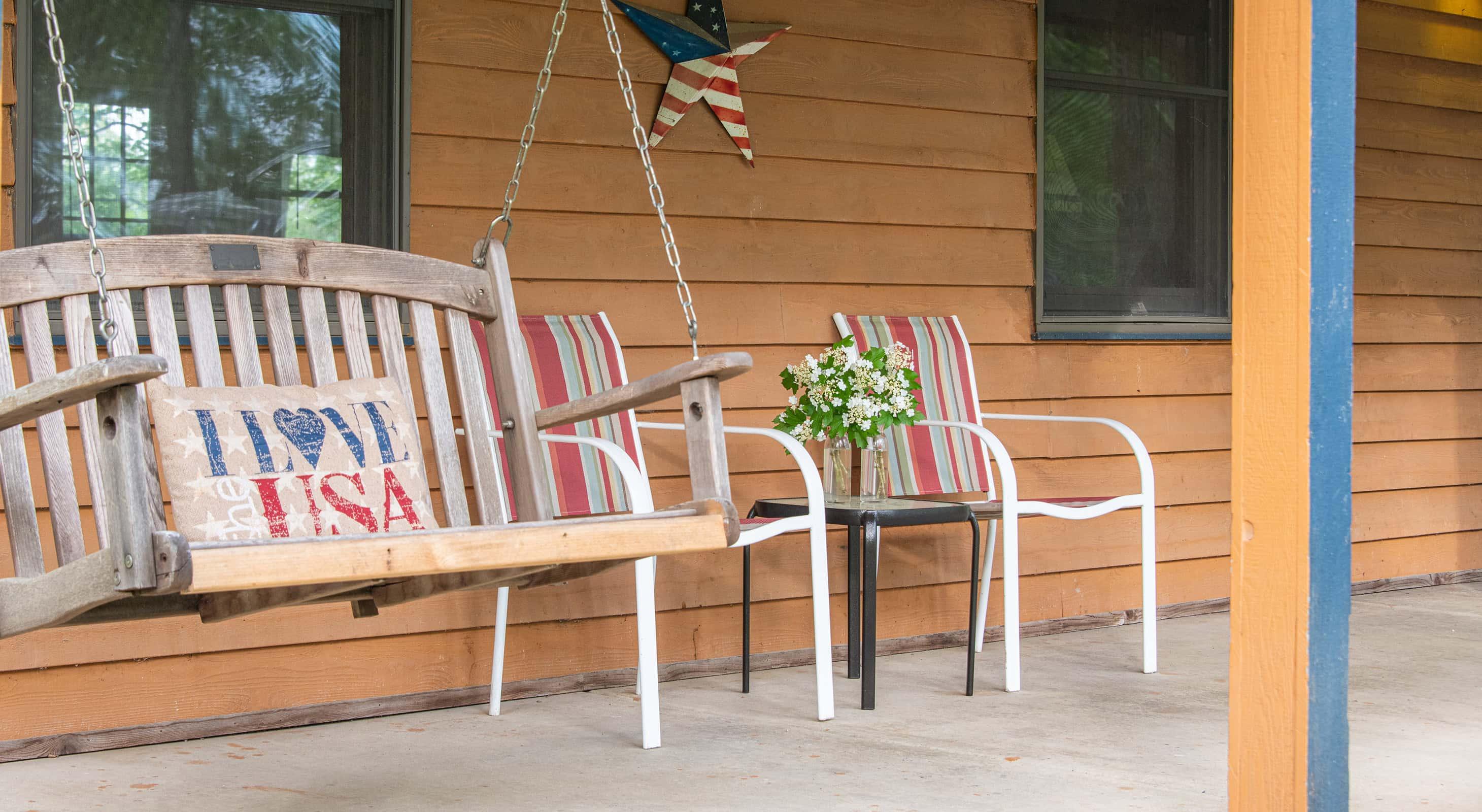 Americana Cabin porch
