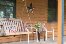 porch swing at Americana Cabin near Buffalo Rock State Park