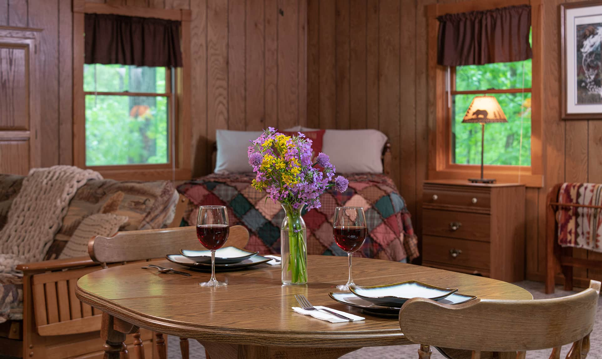 Apache Cabin dining table - a rustic Illinois cabin