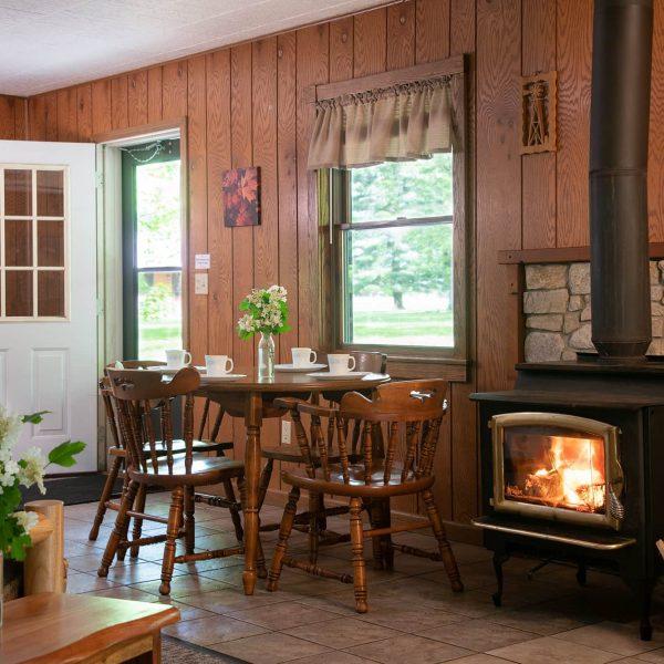 Fireplace in Shadey Oaks Cabin