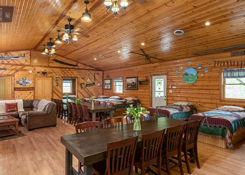 Grandma's Cabin dining tables and beds