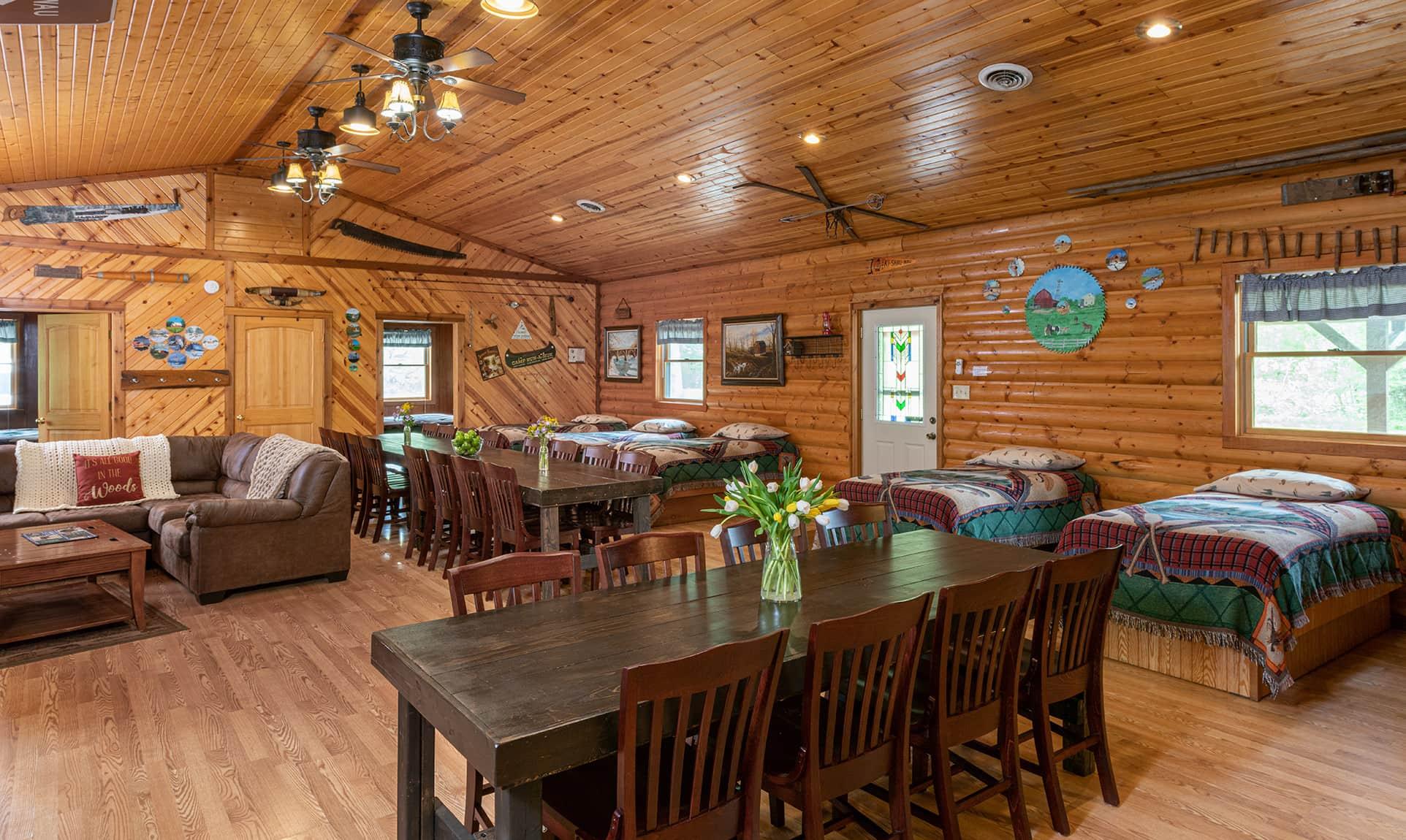 Grandma's Cabin main room for family friendly lodging near Chicago