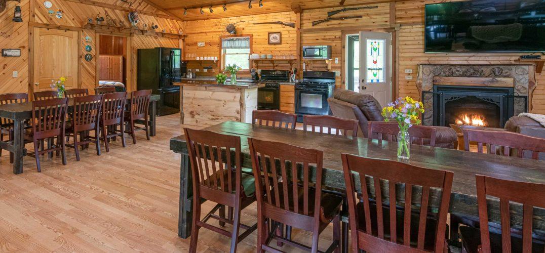 Grandma's Cabin tables and kitchen