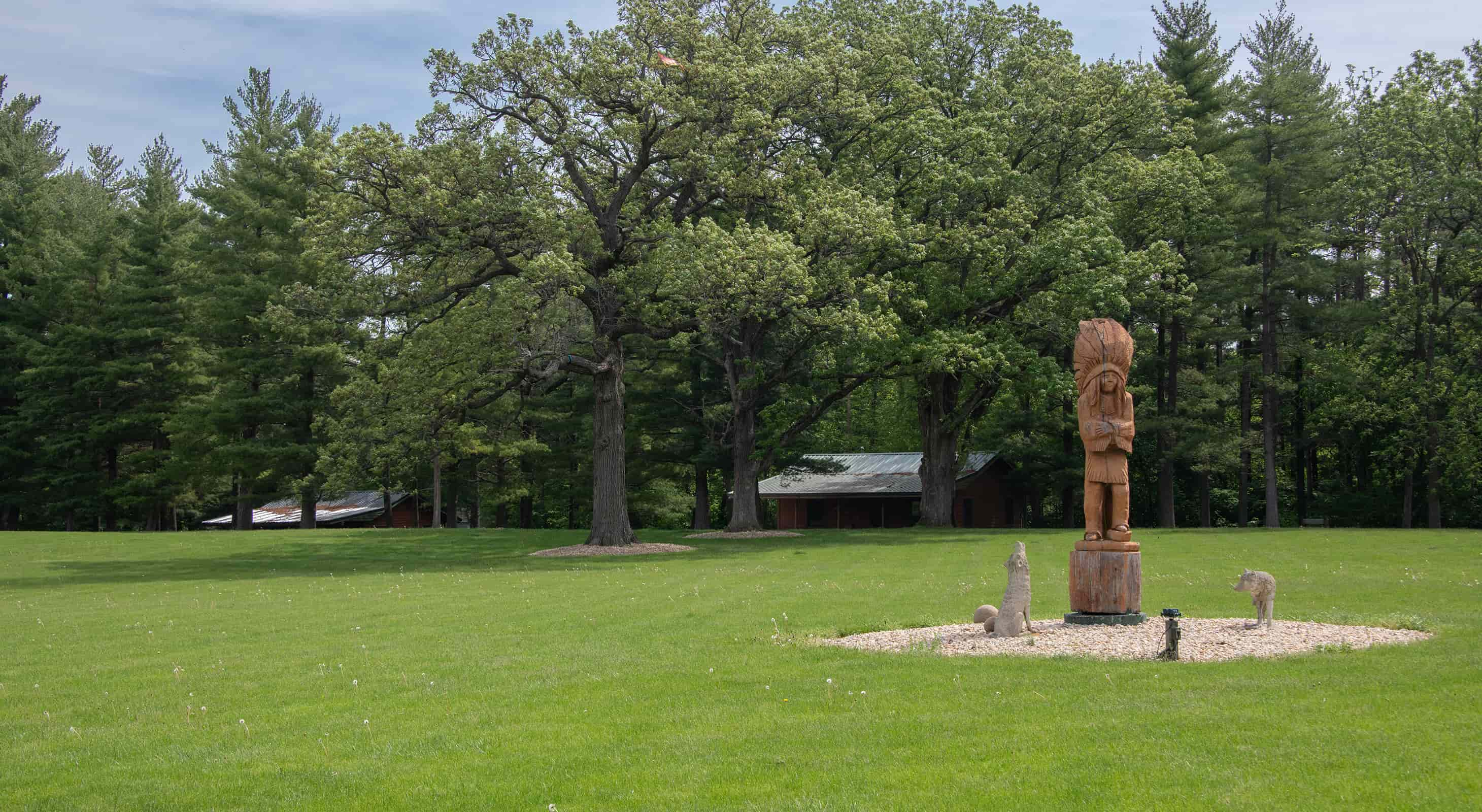 statue at our rustic accommodations near Starved Rock