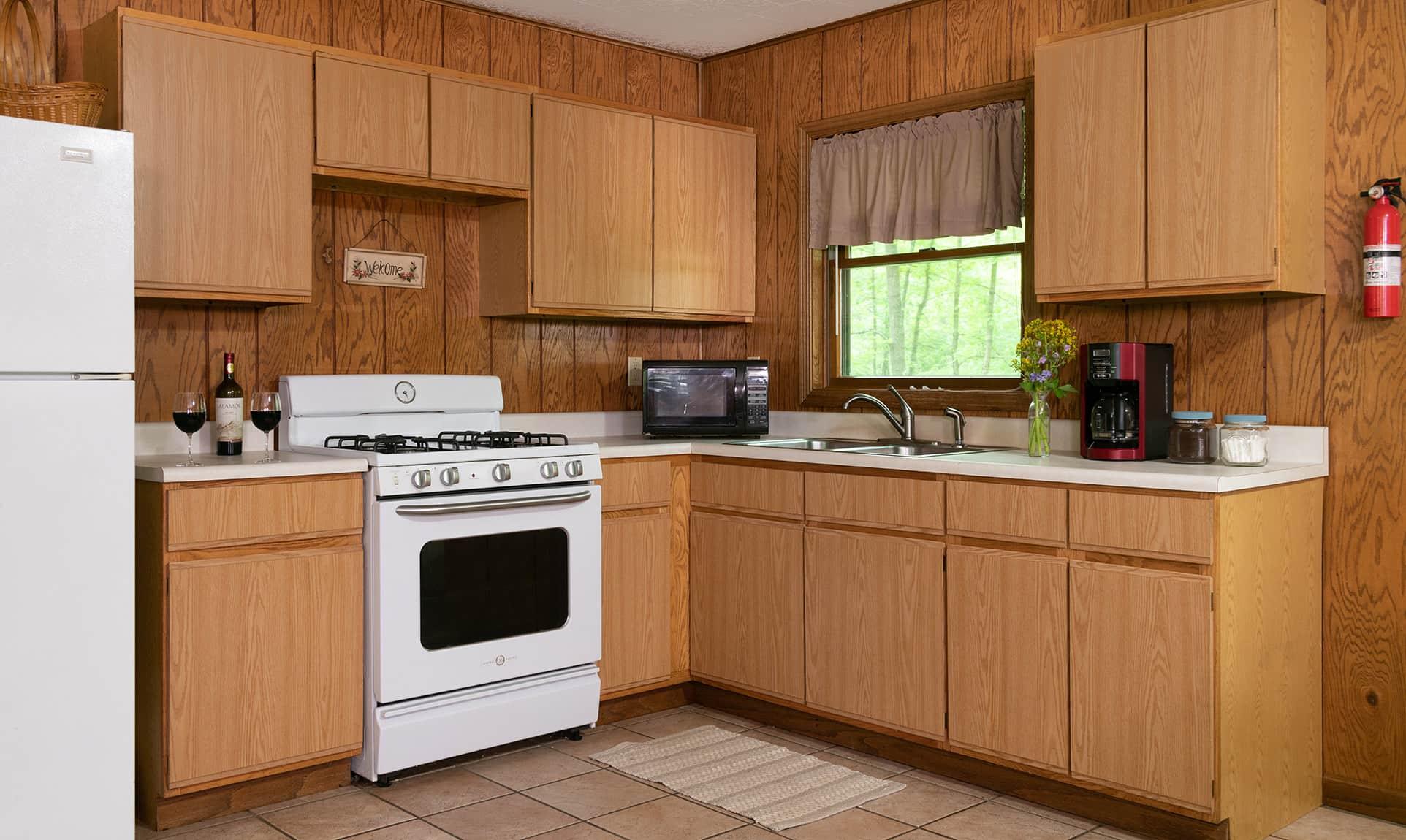 Osage Cabin kitchen - weekend getaway near Chicago
