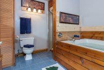 Soaking tub in a rustic cabin getaway near Chicago