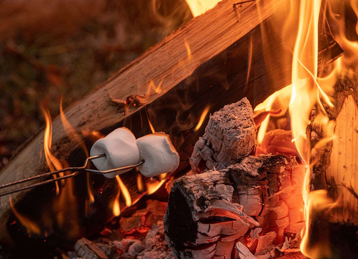 toasting marshmallows at our accommodations near Starved Rock