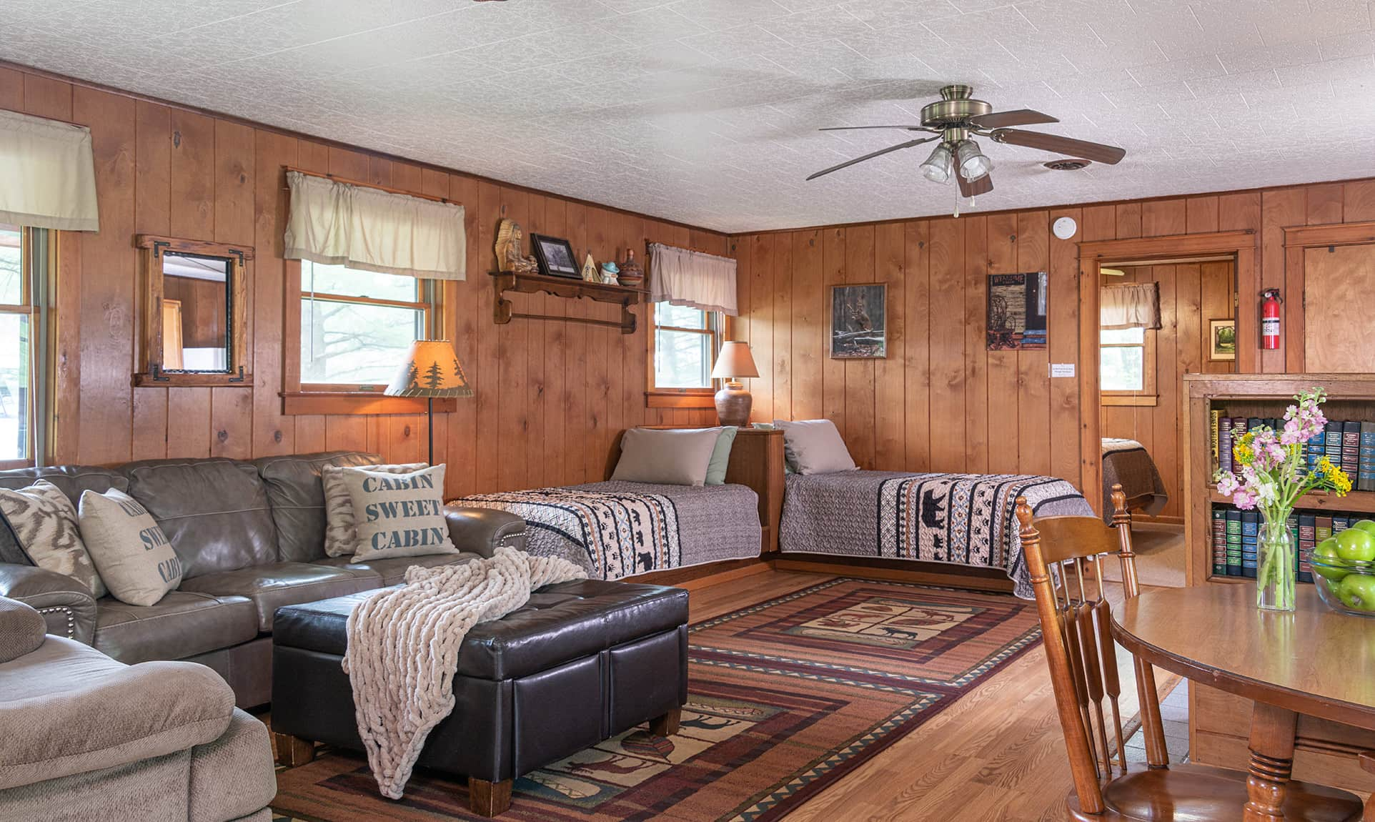 Trading Post Cabin couch and beds