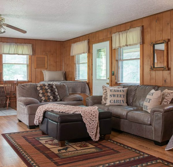 Trading Post Cabin couches for an Illinois family getaway