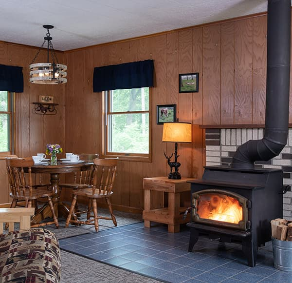 Cabin with stove at our accommodations near Starved Rock