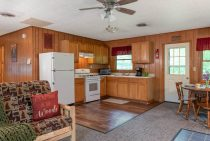 full kitchen at our pet-friendly cabin near Matthiessen State Park