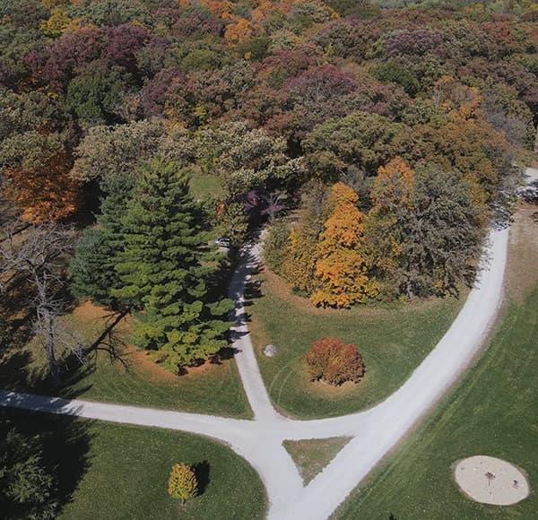 aerial view of Kishauwau cabins near Chicago, IL