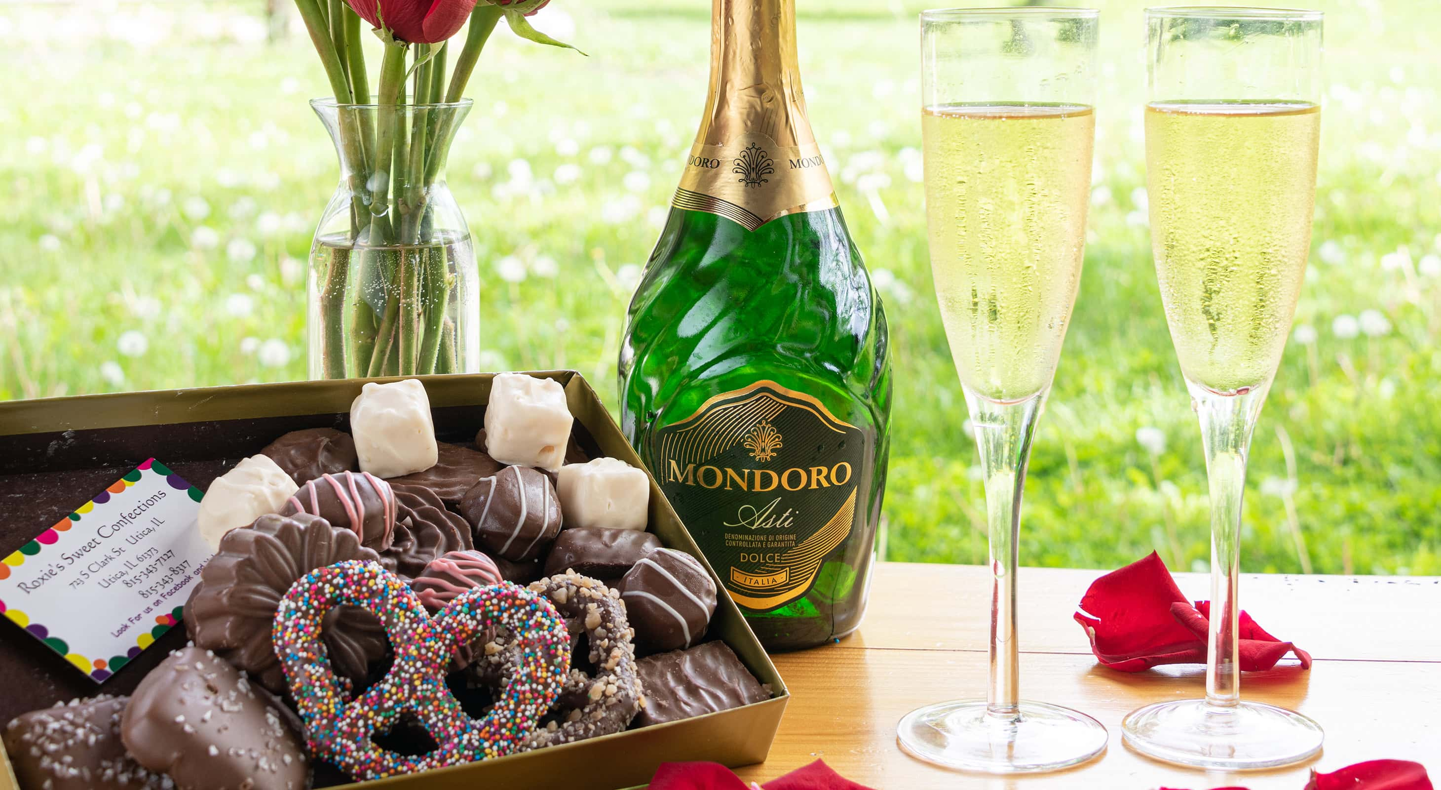 champagne and chocolates during an Illinois honeymoon