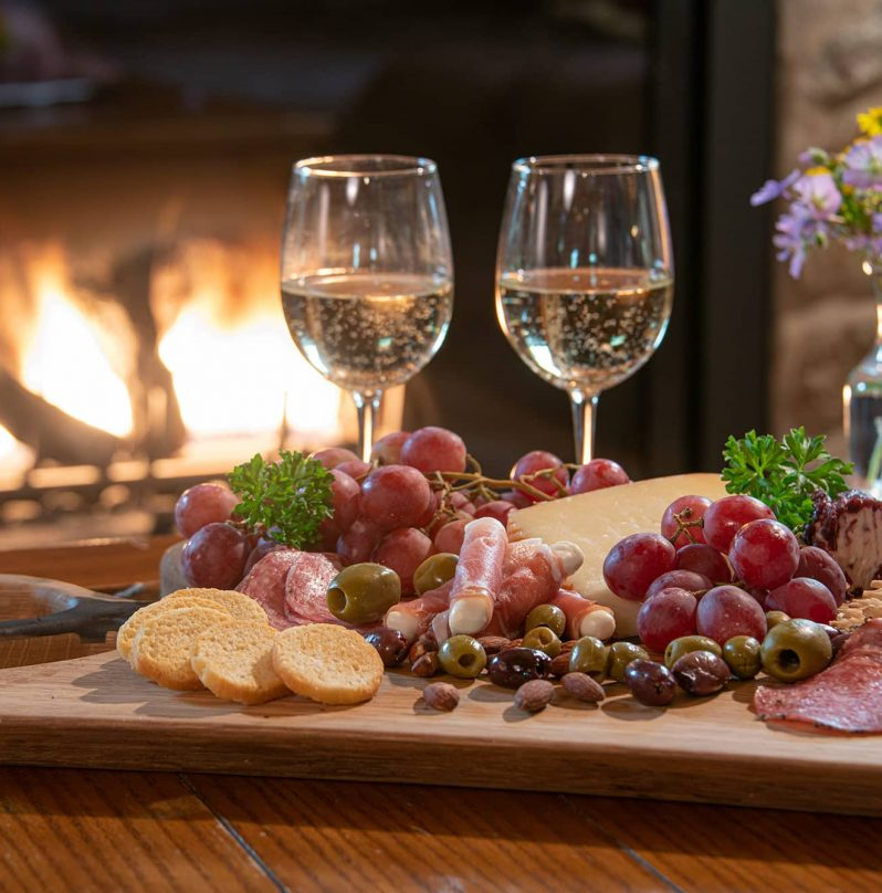 Charcuterie board and wine at our cabins near Chicago, IL