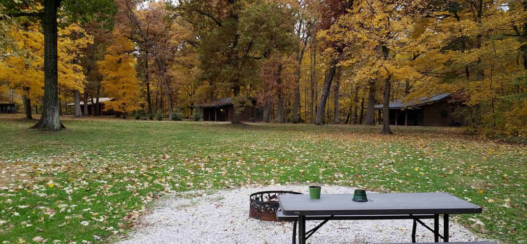 Picnic Table and Fire pit looking over trees in fall
