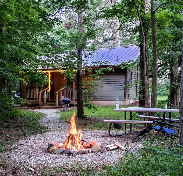 bonfire at our cabins near Chicago, IL